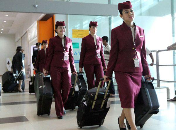 Gallery Qatar Airways Cabin Crew Uniform Personnel Navigant Commercial Robe De Mariage Manches Robe De Mariage