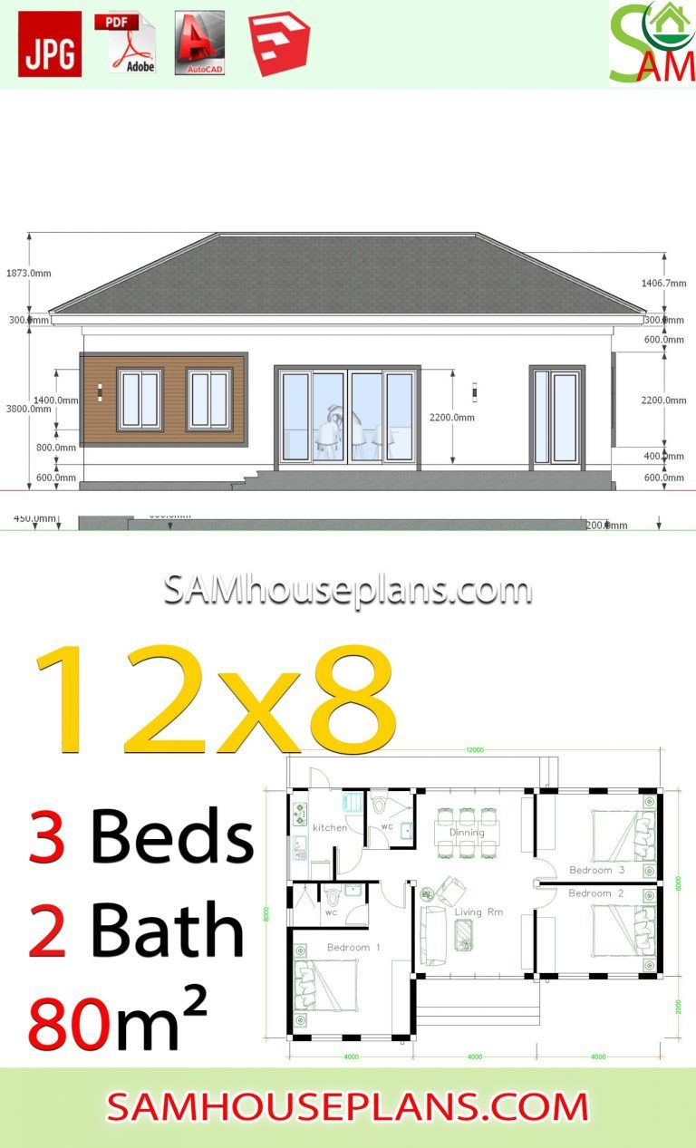 House Plans 12x8 With 3 Bedrooms Hip Roof Sam House Plans House Plans Hip Roof Roof Styles