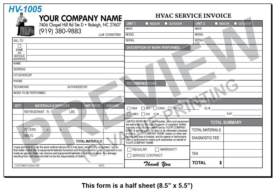 Hv Hvac HalfSheet Service Invoice  Value Printing  Hvac