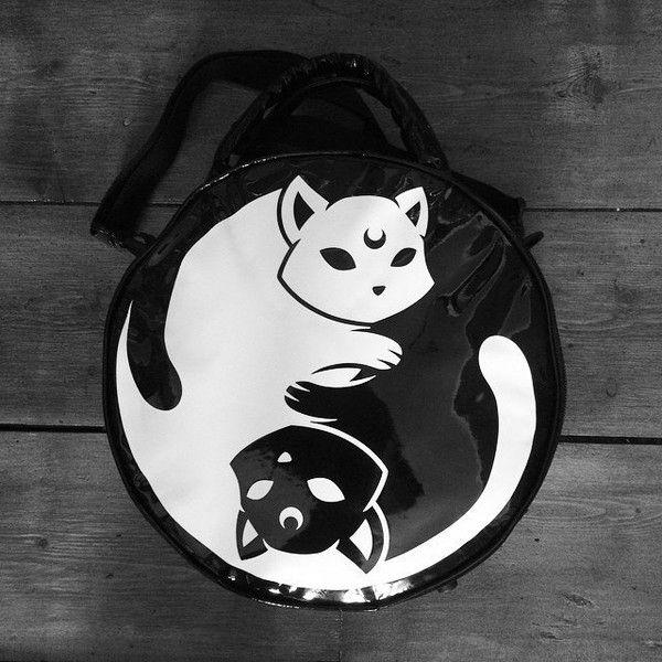 5b71f3299d bag yin yan yin yang luna lunatic moon cats cats kawaii goth pastel goth  harajuku emo punk grunge soft grunge purse handbag