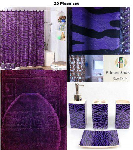 20 Piece Bath Accessory Set Purple Rug Zebra Shower Curtain Accessories