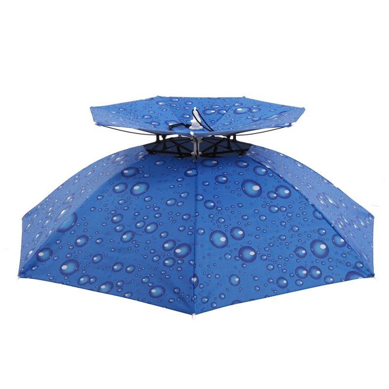 52009d3407841 Fishing Caps Women Men Kid Sunscreen Large Double Deck Sunny Rainy UV  Umbrella Hat Cap Cycling Fishing Walking Beach Camping