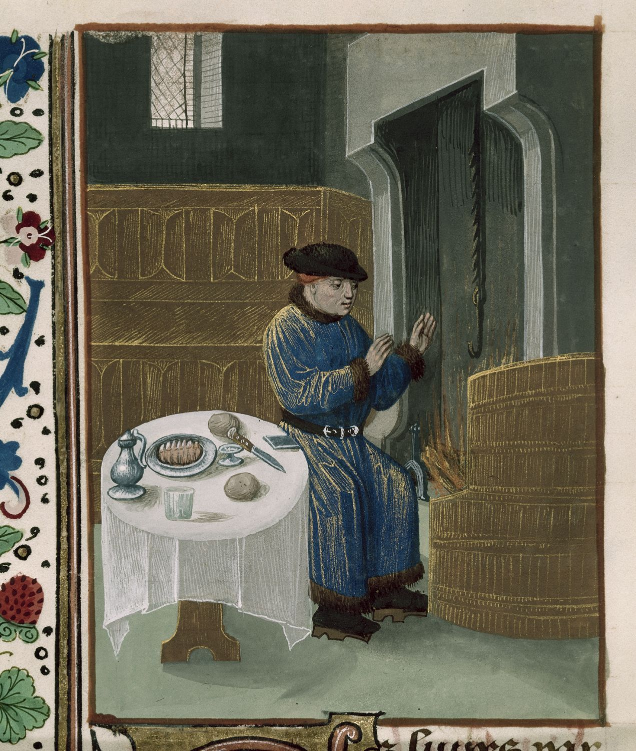 Man seated at table - Petrus de Crescentiis, translation attributed to Jean Corbechon Title Ruralia commoda in French translation (Rustican des ruraulx prouffiz du labour des champs) Origin Netherlands, S. (Bruges) Date Last quarter of the 15th century c. 1478-c. 1480 Language French