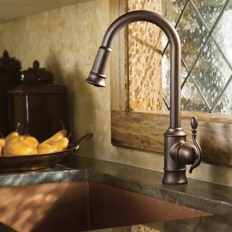 Woodmere oil rubbed bronze one-handle high arc pulldown kitchen ...