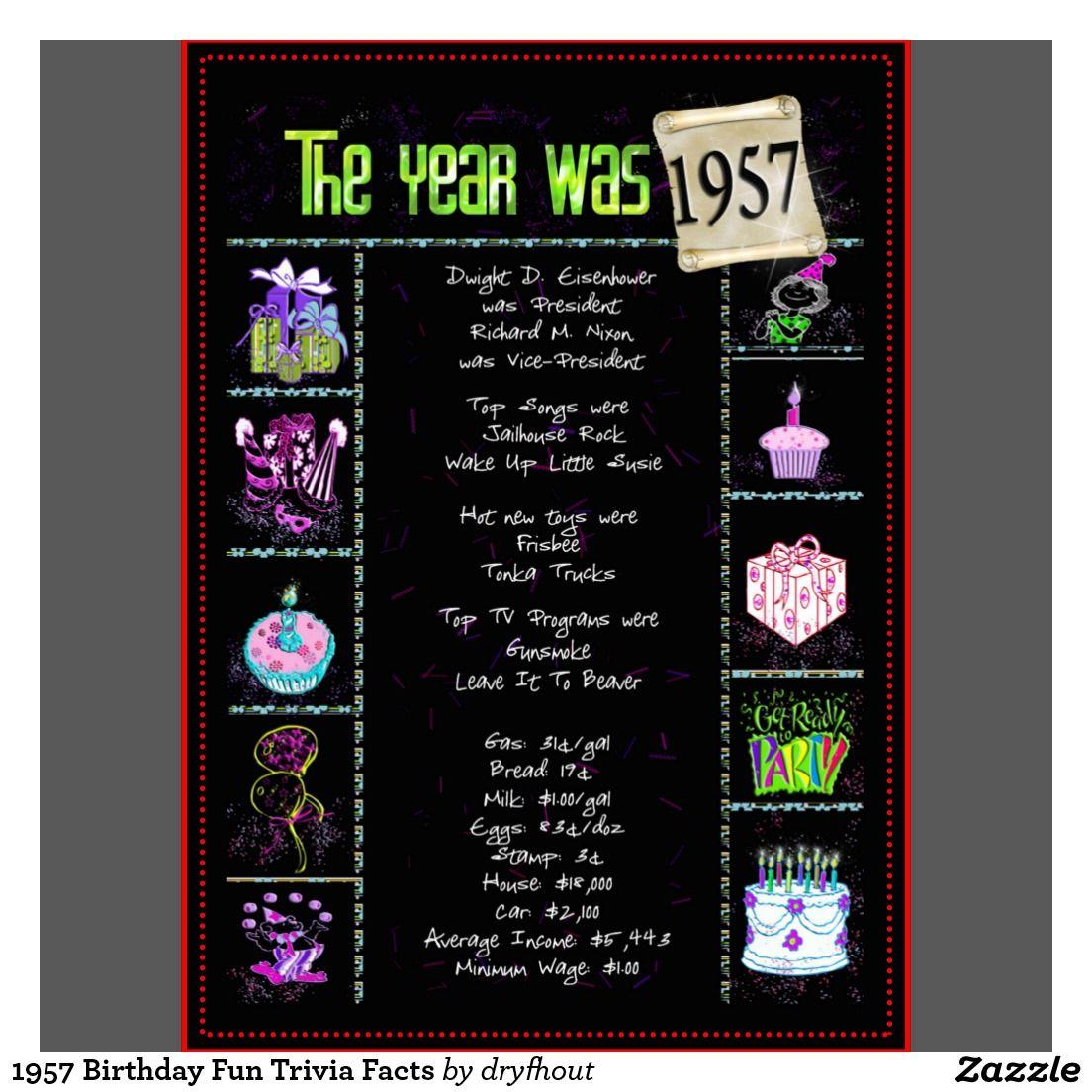 1957 Birthday Fun Trivia Facts Card  Birthday fun  ~ 220244_Birthday Party Ideas Quiz