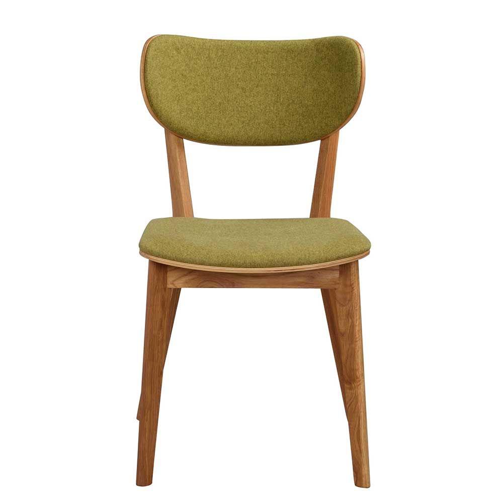 Stuhl Set in Grün Stoff Eiche Massivholz (2er Set) Jetzt bestellen ...
