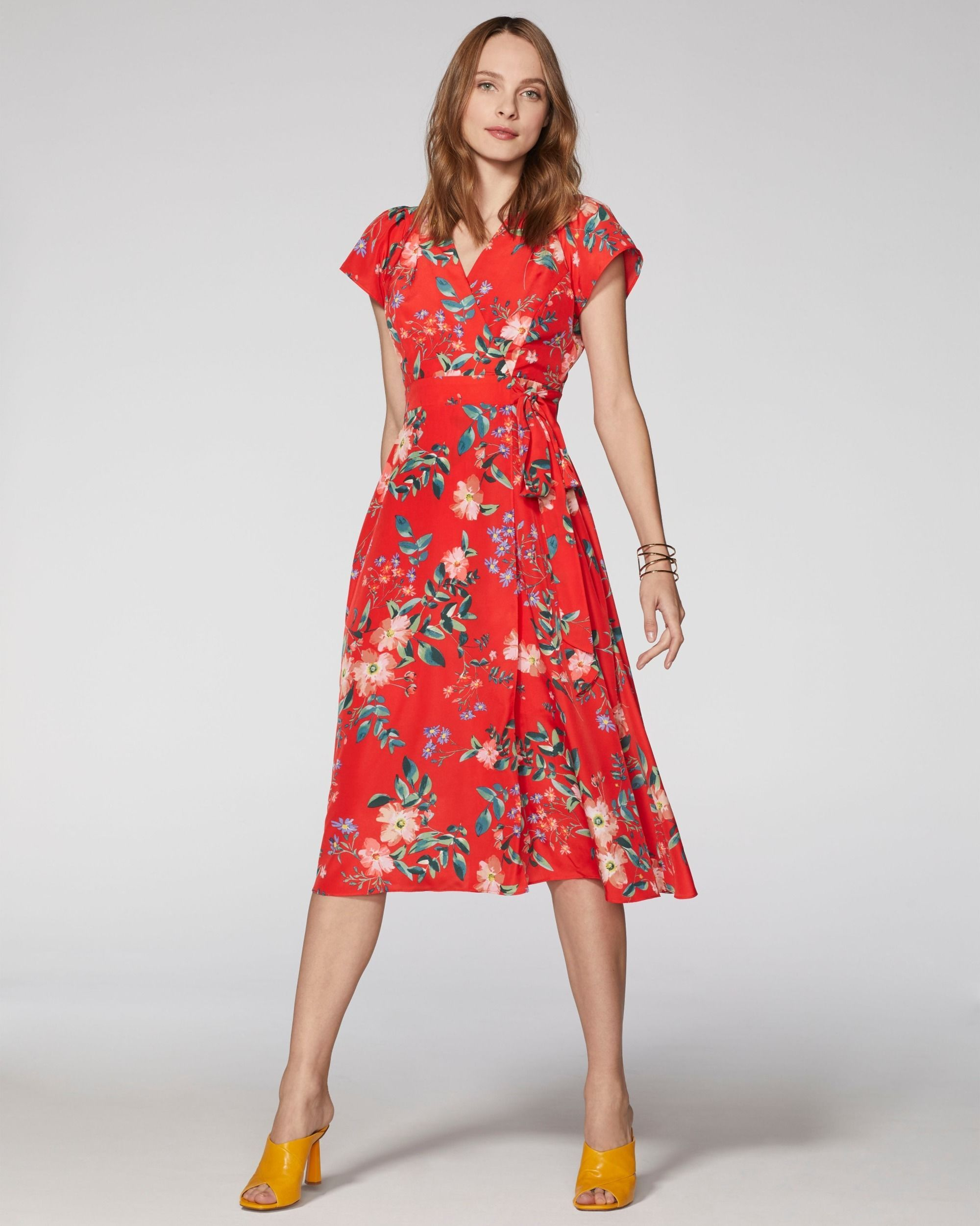 Vince Camuto Floral Print Wrap Dress Red Multi In 2020 Summer Dresses Floral Dress Casual Floral Dress Summer [ 2501 x 2000 Pixel ]