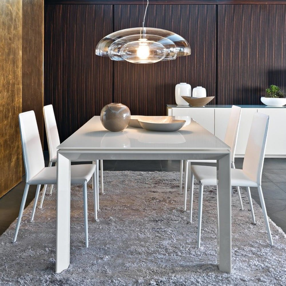 Omnia table white glass extension by calligaris