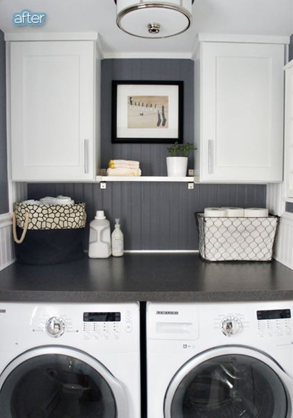 Laundry room idea- counter over the front loaders Home Decor