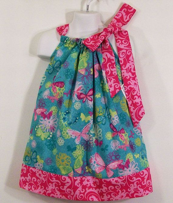 Girls Pillowcase DressAqua Butterfly with PinkMade in by togs4tots, $20.00