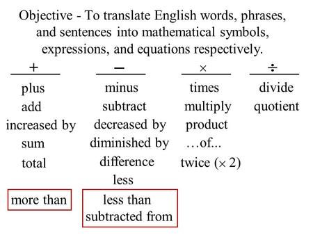 Objective To Translate Words And Phrases Into Symbols Variables Expressions An Translating Algebraic Expressions Writing Algebraic Expressions English Words