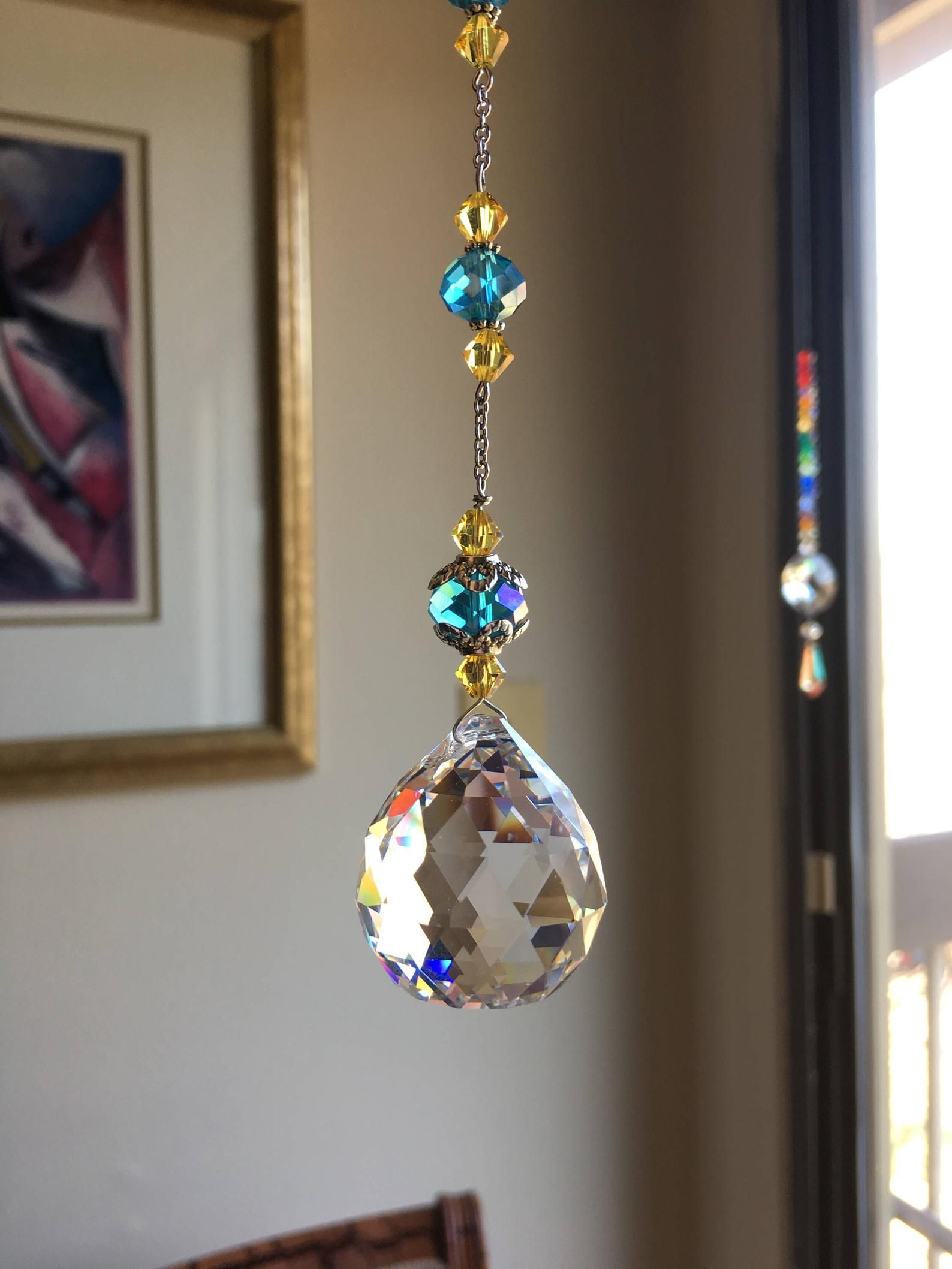 Feng shui crystal Windows sun catcher crystal drop ball Blue yellow House warming Vitrail glass Hanging prism Gifts for homes