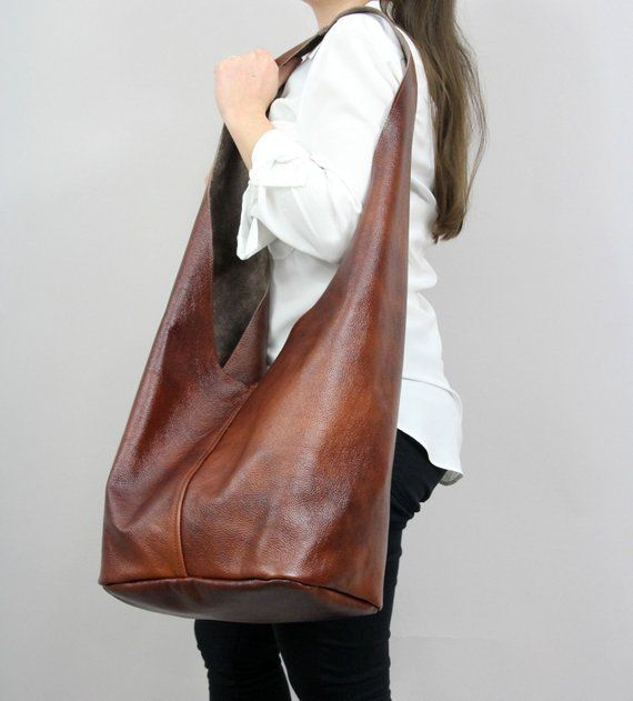 Brown leather hippie bag, Crossbody hobo bag with comfortable strap, Boho slouch bag, Oversized brow