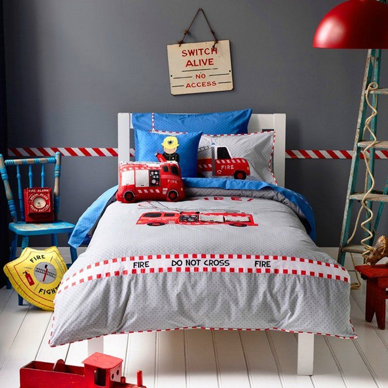 Kids Red Blue and Grey Fire Truck Print Funky Style