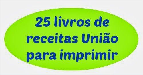 25 Livros de receitas União para imprimir