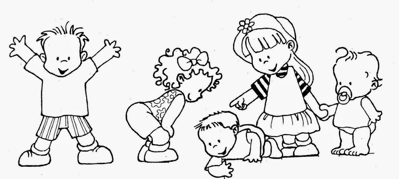 Dibujos De Ninos Y Ninas Para Colorear Jugando Estudiando