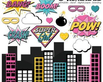 Clipart  Supergirls Superhero Clipart Girls Bundle Superhero Girls Supergirl Set 2