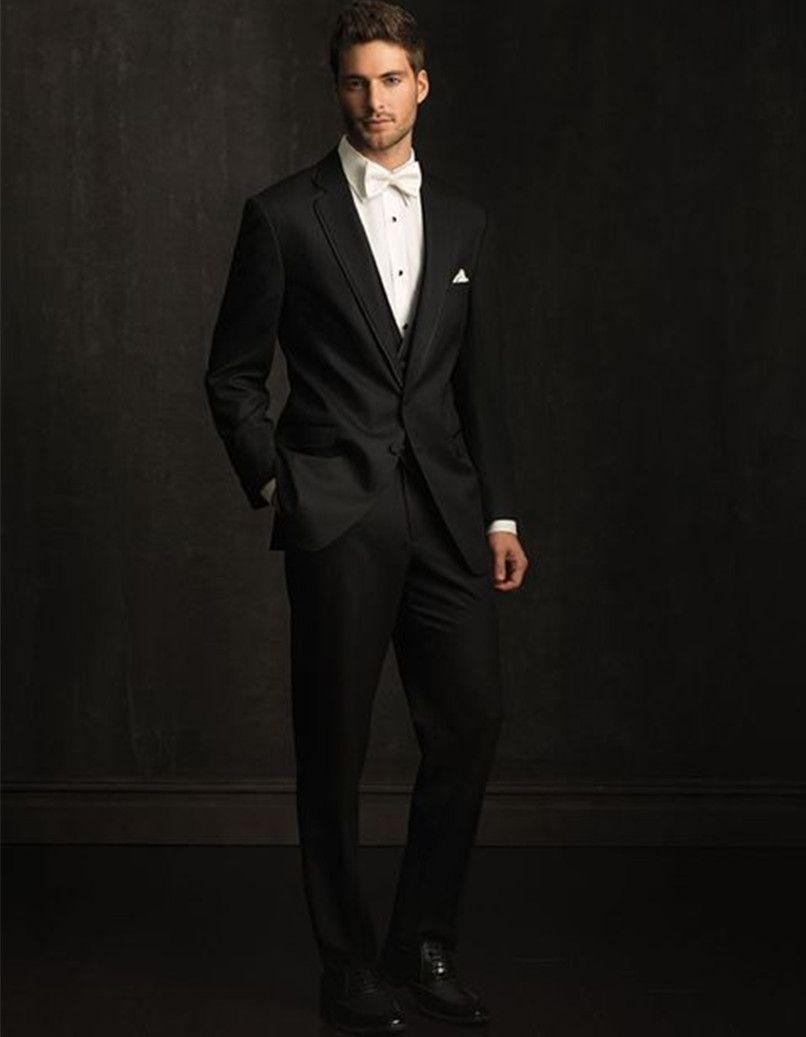 Click to Buy << designer prom suits black groom tuxedo for men beach ...