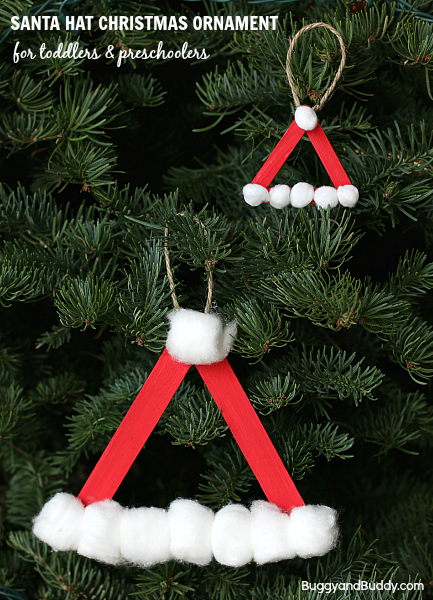 Santa hat homemade christmas ornament using craft sticks for Christmas projects with popsicle sticks