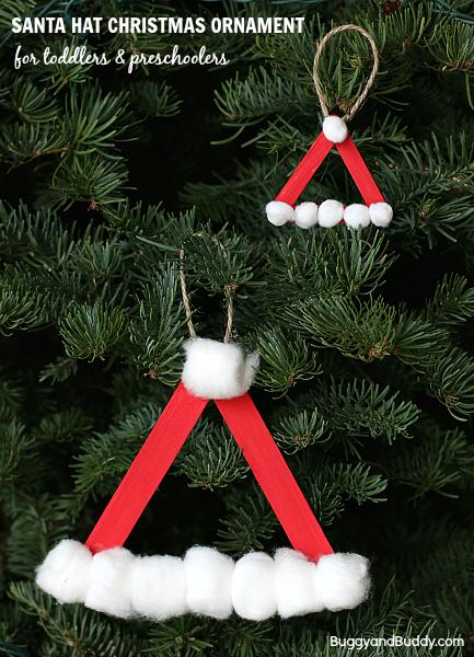 Santa Hat Homemade Christmas Ornament Buggy And Buddy Preschool Christmas Crafts Preschool Christmas Christmas Crafts For Kids