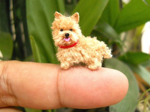Fawn Cairn Terrier Puppy Tiny Crochet Miniature Dog Stuffed