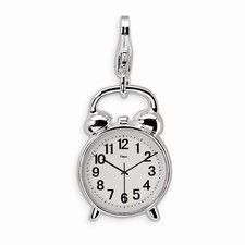 Sterling Silver 3-D Alarm Clock Charm