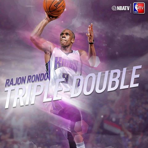 Rajon Rondo records his sixth triple-double (27 pts, 10 reb, 12 ast) of the season in a tough loss to the Trail Blazers.