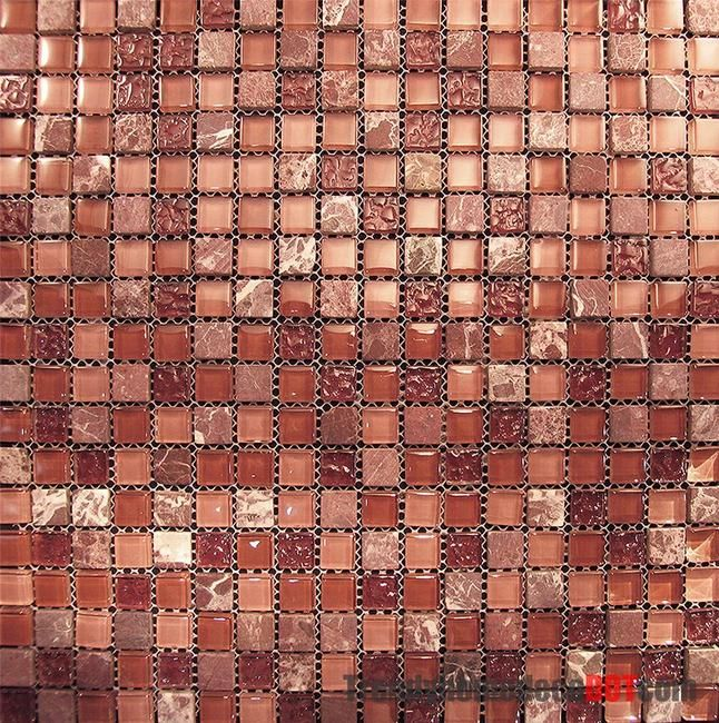 Marble Red Pink Glass Mosaic Tile in stock $15.75/SF | Ideas for the ...