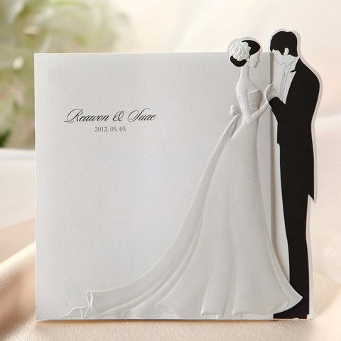 Black White Embossed Bride Groom Wedding Invitations Bh 2069