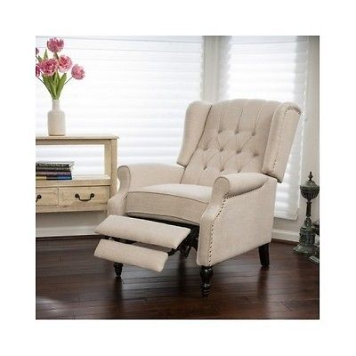 Wingback Recliner Club Chair Tufted Cream Fabric Traditional Accent