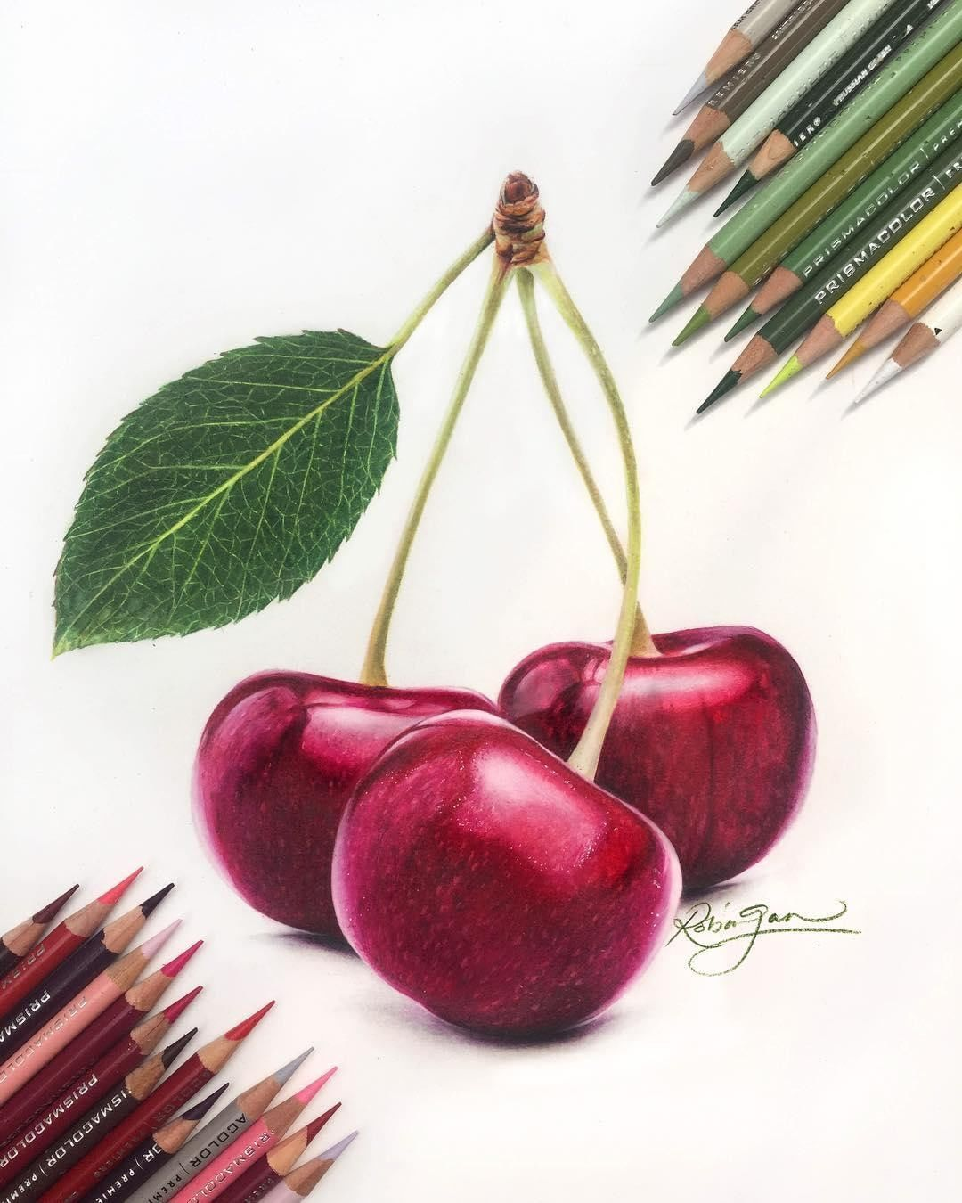Prismacolor On Instagram These Cherries Look So Sweet You Can Almost Taste Them Robingan Color Pencil Drawing Color Pencil Art Colored Pencil Artwork