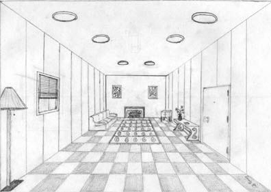 One point perspective living room 20 one point - One point perspective drawing living room ...