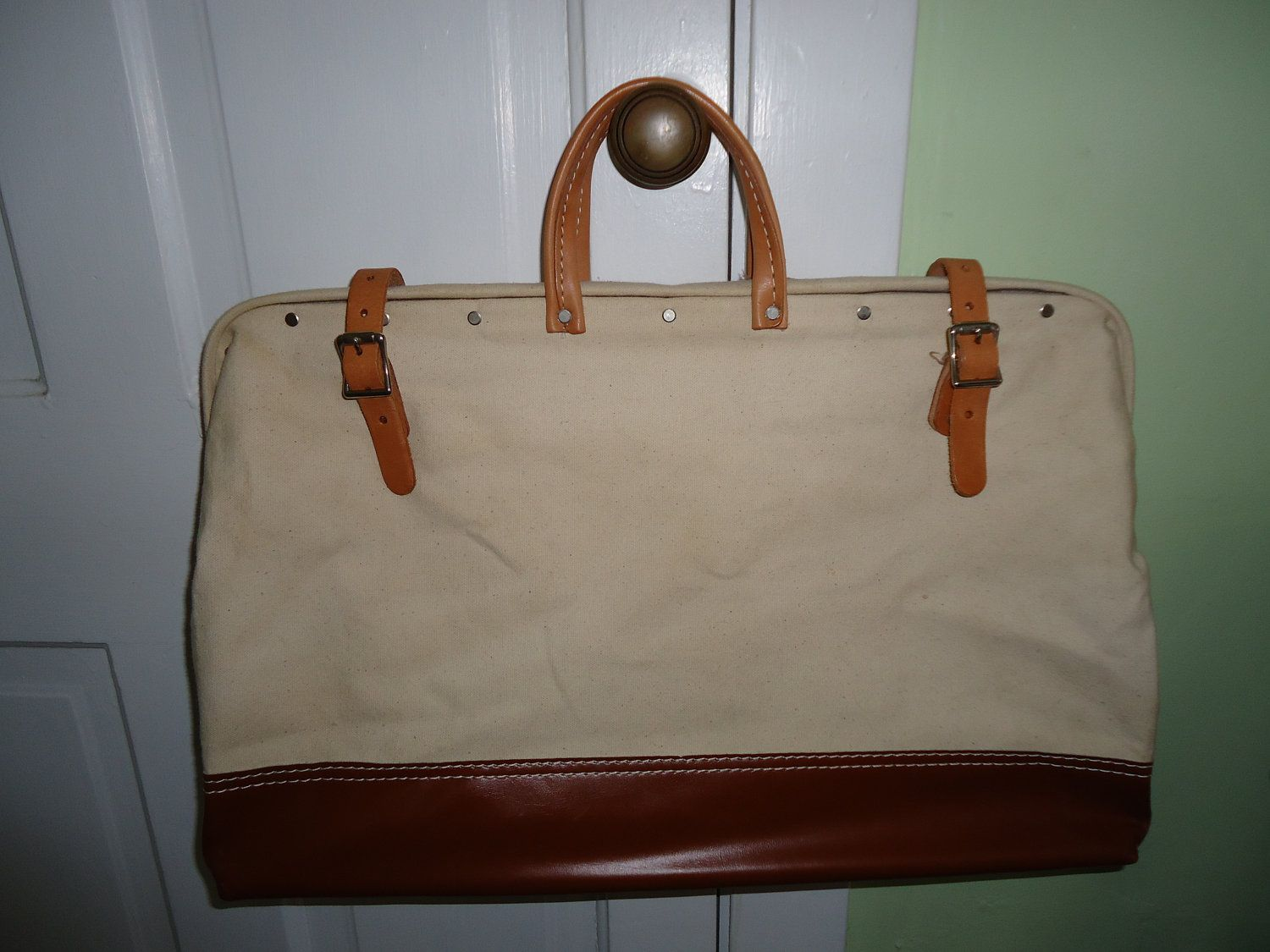 Vintage Canvas Carpenters Bag With Leather By Mapleknollvintage 65 00