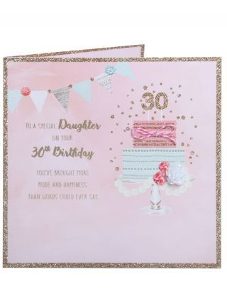 Daughter 30th Birthday Card 2 Tier Cake On Stand Milestone 30