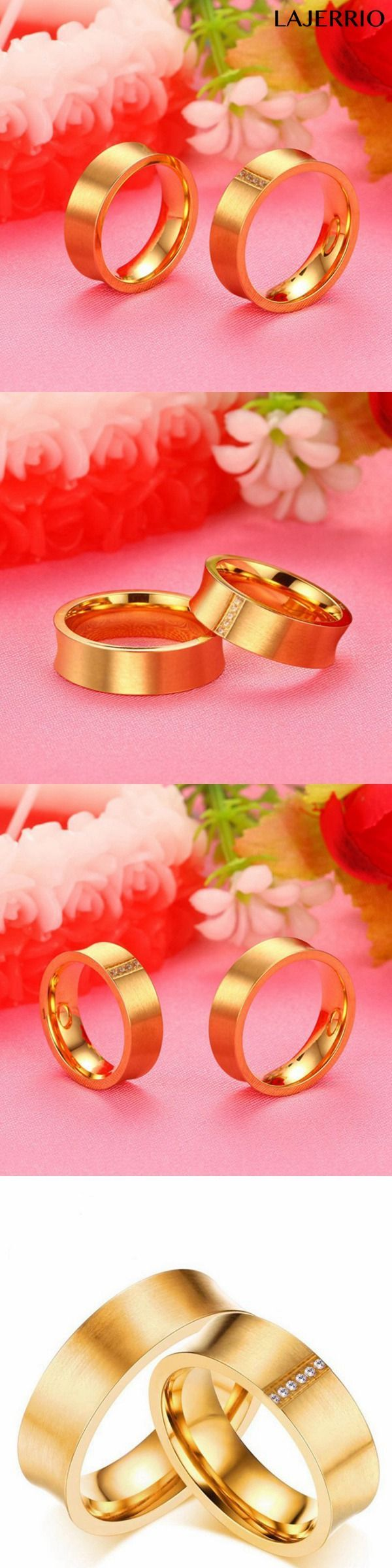 Gold Round Cut White Sapphire Titanium Steel Promise Rings for ...