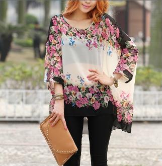 Women's Floral Print Chiffon Tunic