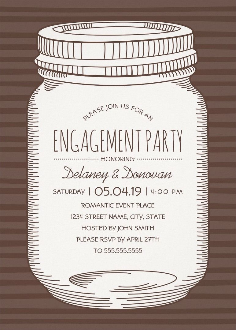 Vintage Mason Jar Engagement Party Invitations Unique Rustic – Creative Engagement Party Invitations