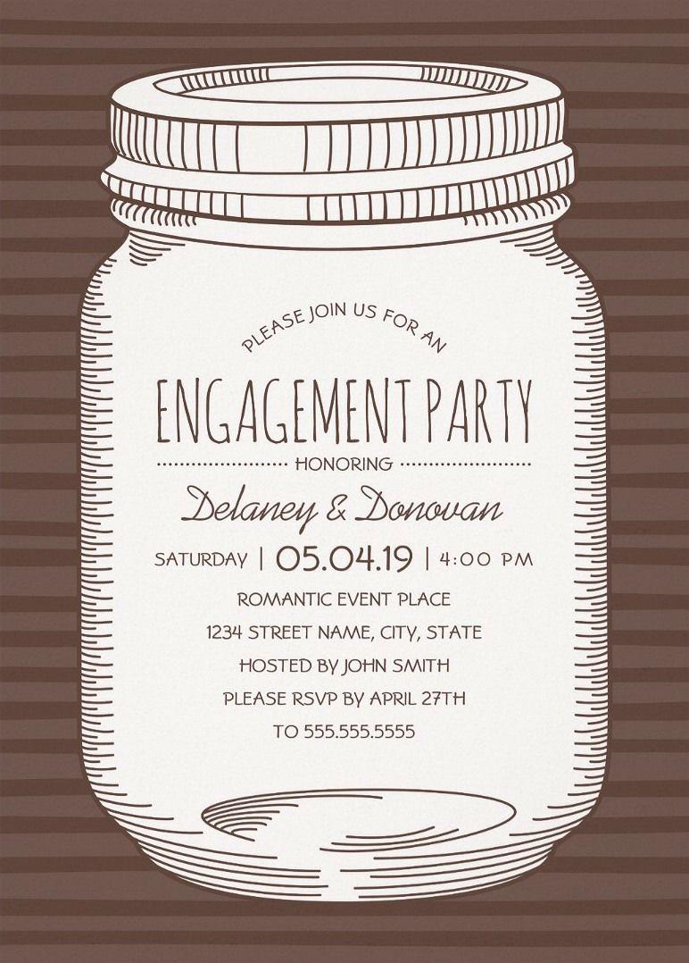 Vintage Mason Jar Engagement Party Invitations – Unique Rustic ...