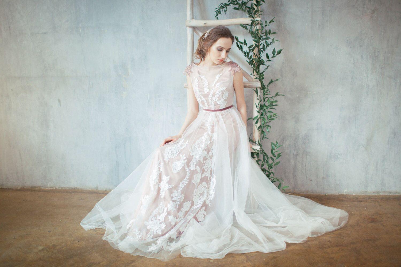 Glen pale rose wedding dress embroidered shoulders open back
