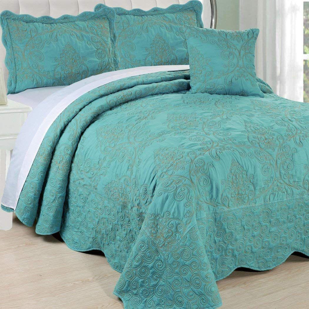 4pc 120 X 120 Teal Blue Oversized Damask Bedspread King Floor