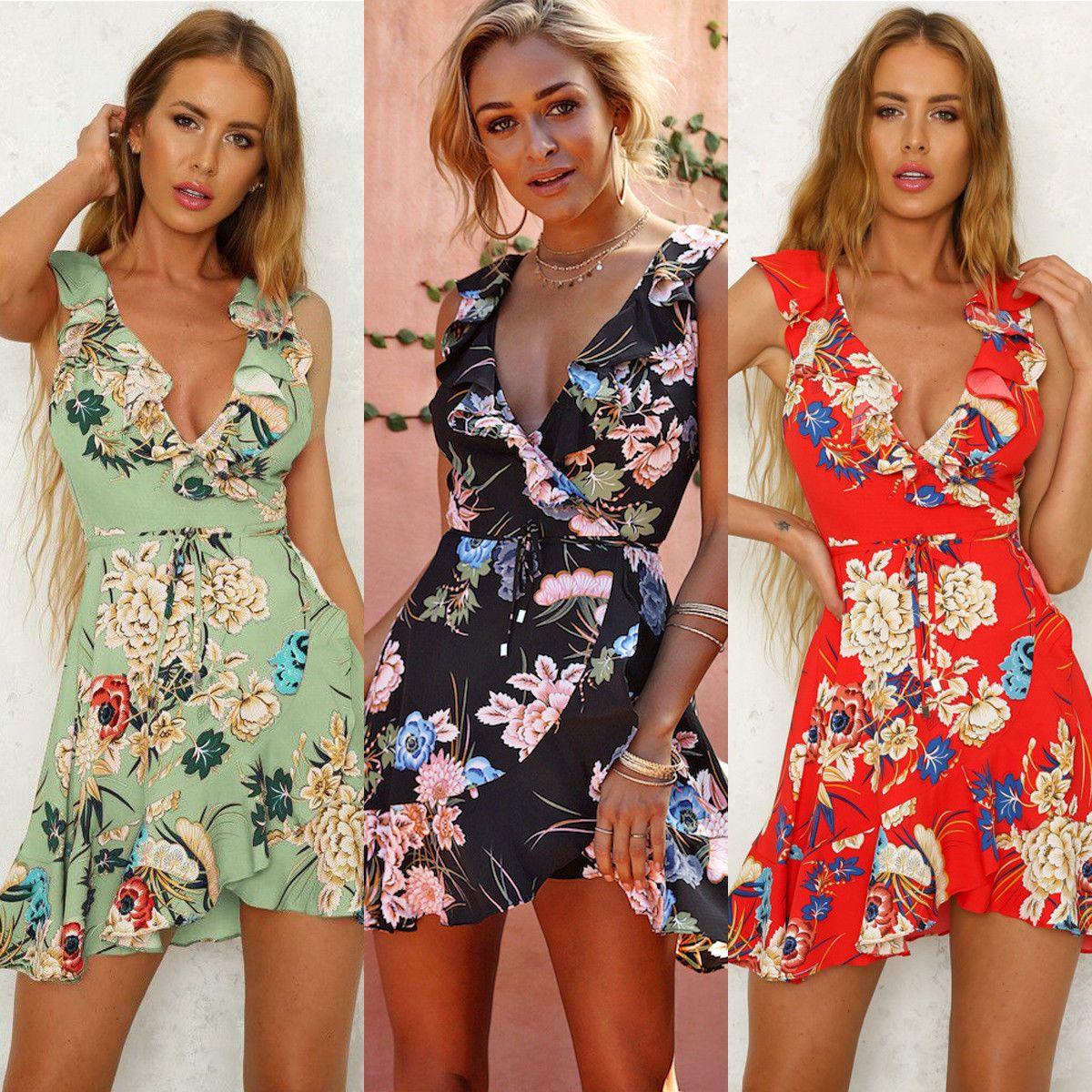 Womens Boho Summer Short Dress Off Shoulder Floral Beach Mini Dress Sundress Green Dresses Ideas With Images Short Mini Dress Boho Floral Maxi Dress Green Dress Casual [ 1200 x 1200 Pixel ]