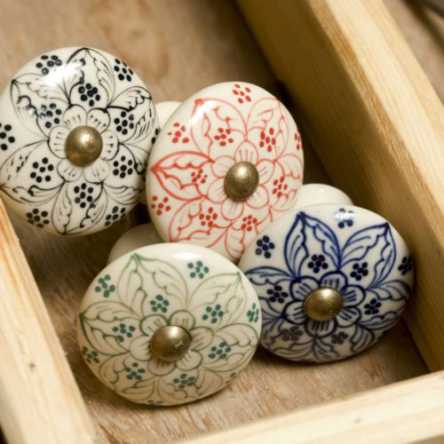 Hand Painted Ceramic Door Knob Knobs Drawer Pulls Kitchen