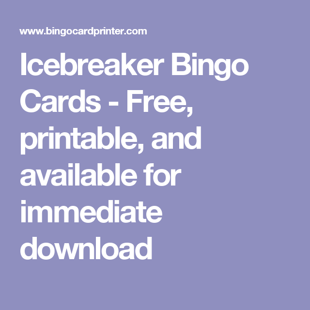 Icebreaker Bingo Cards - Free, printable, and available for ...