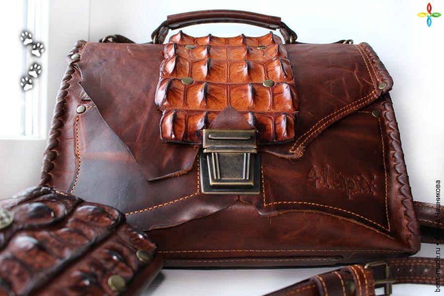 b698a0cfee4d Мужская сумка из натуральной кожи КРС и крокодила, гладкая кожа, кожа  крокодила, телячья
