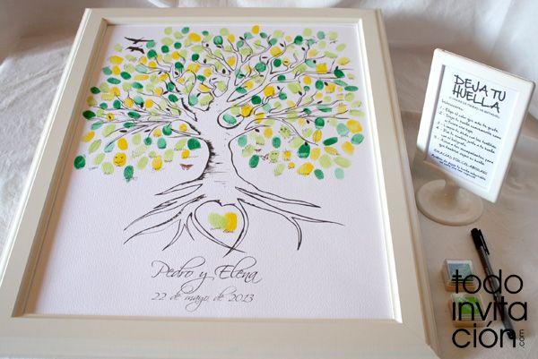 Cuadros de firmas con huellas en tu boda o celebraci n - Pintar marcos de cuadros ...