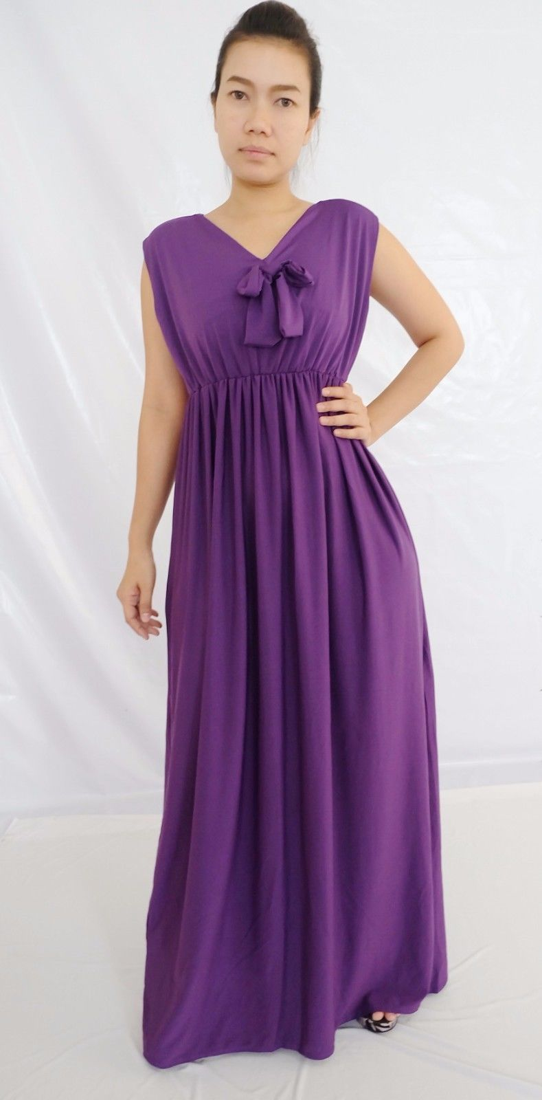 Women Summer/Casual Party Evening Maxi Long Purple Solid Color Plus ...