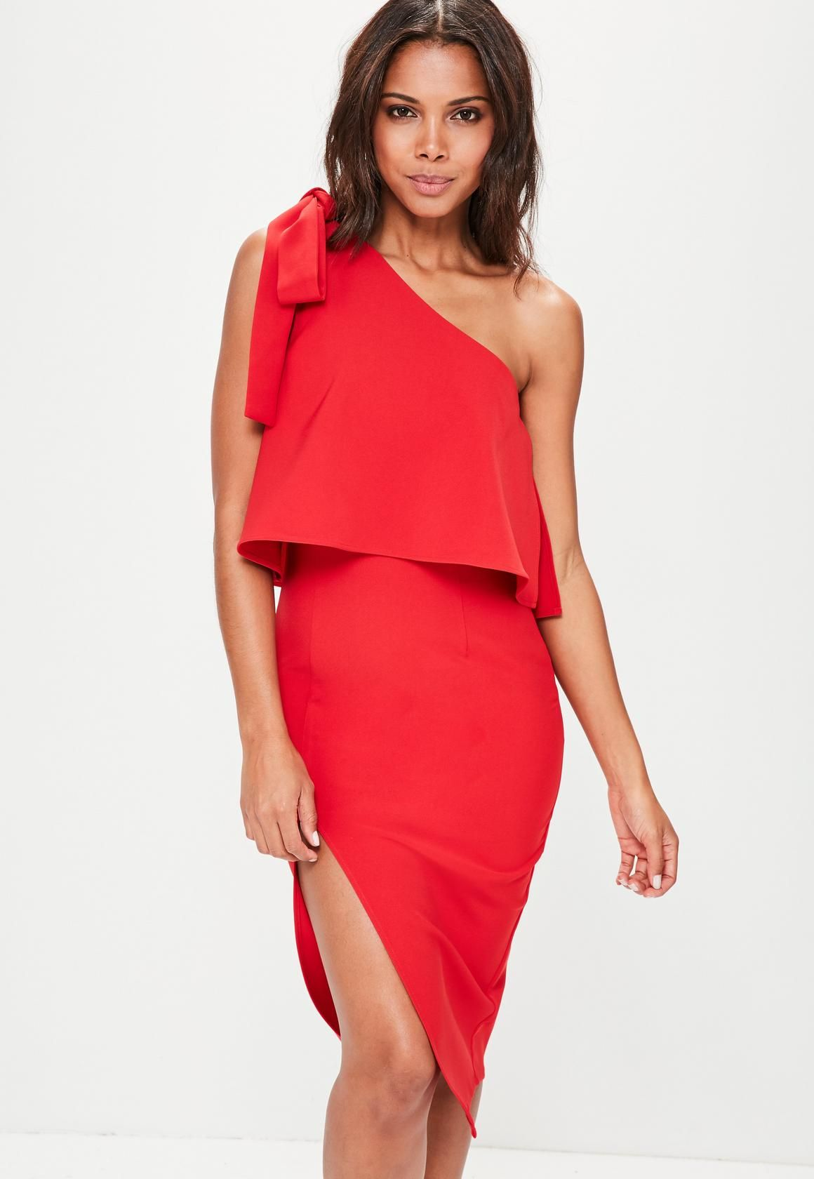 1523dc0d9d Missguided - Red Crepe One Shoulder Bow Sleeve Midi Dress