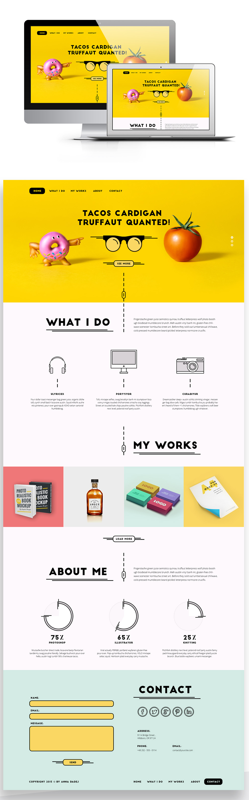 nice creative single page personal portfolio website template free