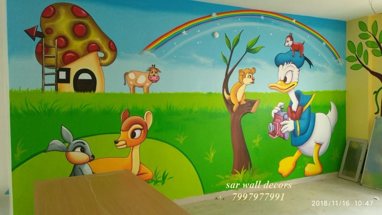 Playschoolwallpaintingspicture educational wall painting cartoon