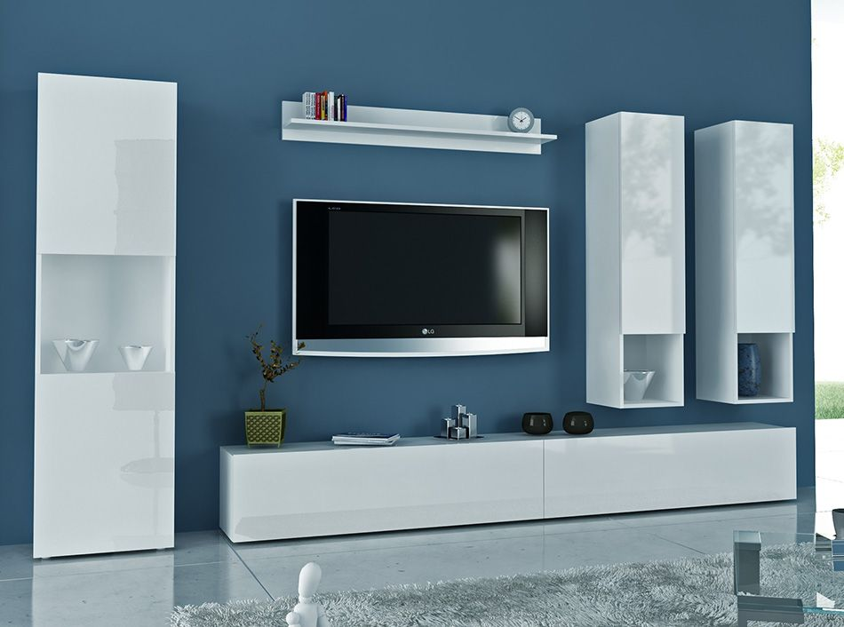 Aquila, modern TV cabinet and display units combination in white ...